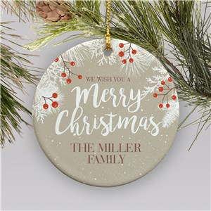 Merry Christmas Ornament with Name | Christmas Ornament with Trees