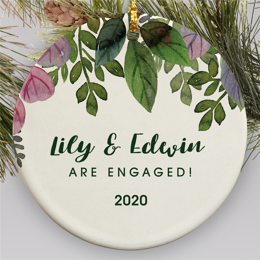 Watercolor Engagement Ornament | Engagement Ornament with Leaves