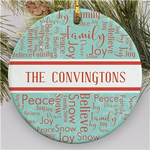 Vintage Style Ornament With Name | Word Cloud Christmas Ornament