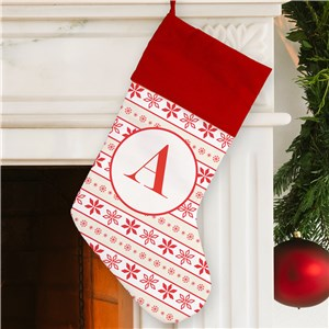 Personalized Red Cuff Scandinavian Snowflake Stocking | Monogrammed Christmas Stockings