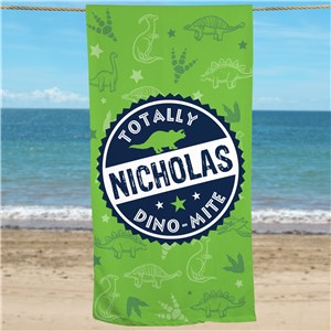 Personalized Dino Mite Beach Towel U1369233