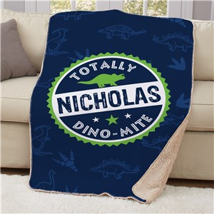 Personalized Dino Mite Sherpa | Personalized Dinosaur Blanket