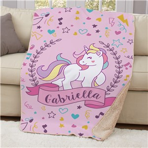 Pink Unicorn Sherpa Blanket | Personalized Unicorn Sherpa Throw