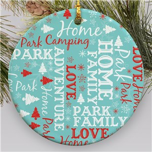 Camping Word Art Ornament | Camping Word Cloud Ornament