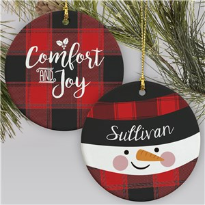 Personalized Plaid Snowman Ornament | Buffalo Plaid Snowman Ornament