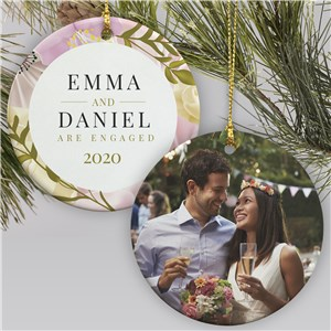 Personalized Engagement Photo Ornament | Floral Engagement Ornament