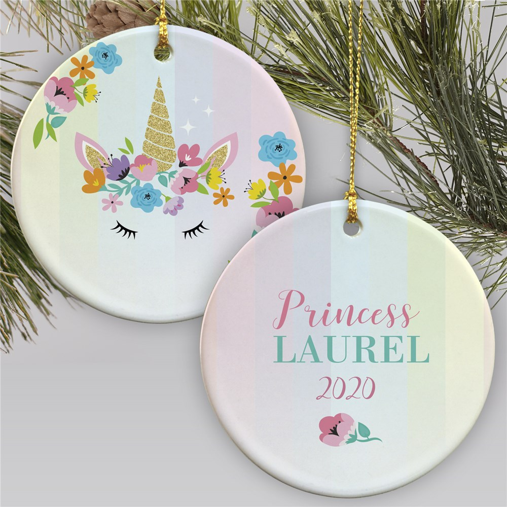 Personalized Princess Unicorn Ornament | Princess Ornament For Girls