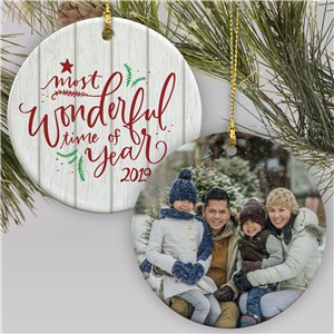 Personalized Family Photo Christmas Ornament | Most Wonderful Time Of The Year Ornament