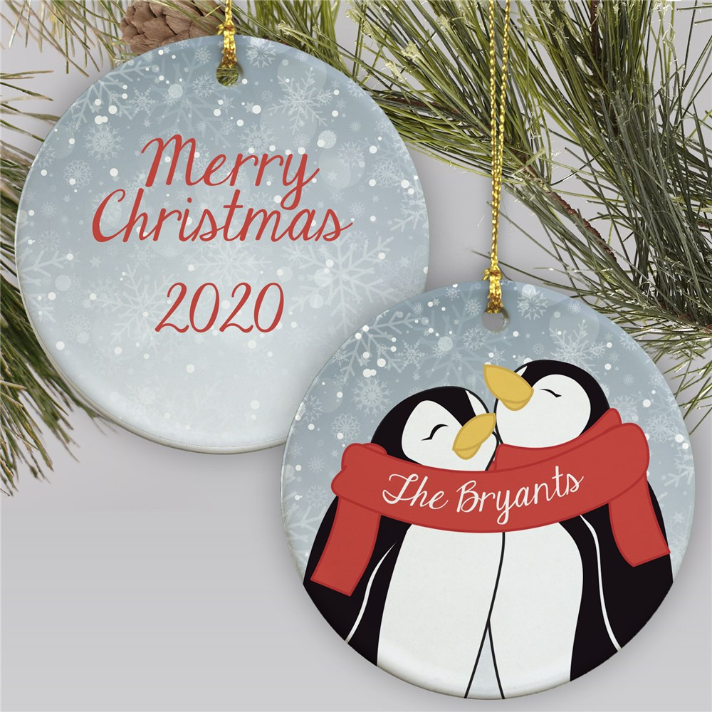 Personalized Penguin Couple Ornament | Penguin Ornament For Couples