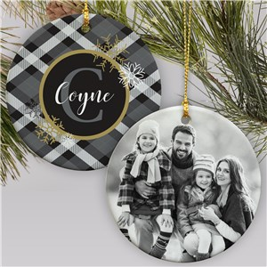 Dashing Through The Snow Ornament | Black And White Plaid Ornament With Photo