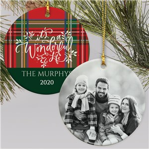 It's A Wonderful Life Ornament | Plaid Christmas Ornament With Photo
