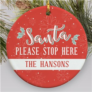 Santa Please Stop Here Ornament | Santa Ornament With Name