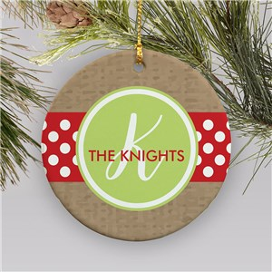 Personalized Polka Dot Ornament | Polka Dot Ornament With Initial
