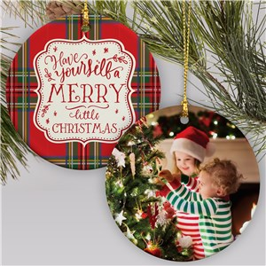 Plaid Merry Little Christmas Ornament | Tartan Plaid Christmas Ornament