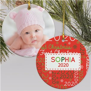 Baby's First Christmas Word Art Ornament | Newborn Word Cloud Ornament