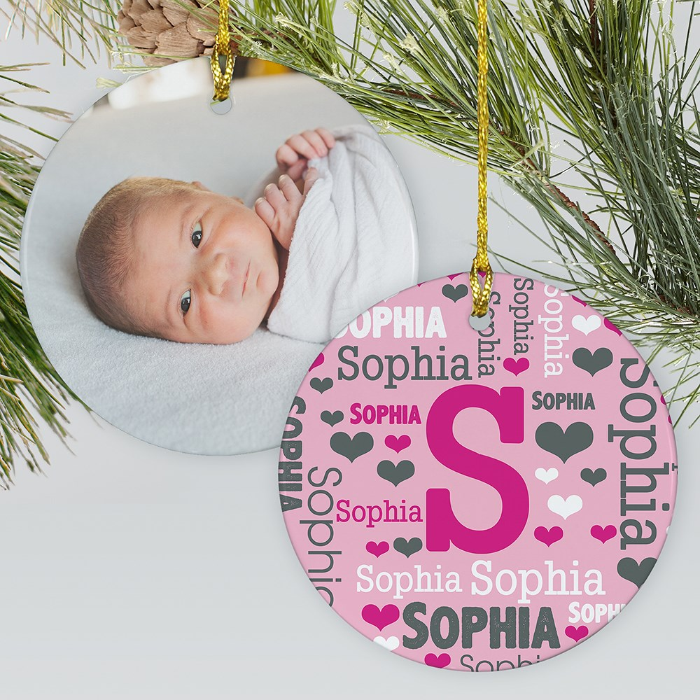 Baby's Monogram Word Art Ornament | Monogram Ornament For Newborns