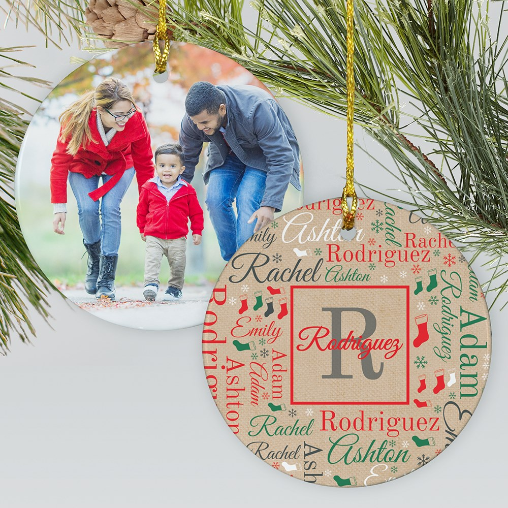 Initial And Family Name Word-Art Ornament With Photo