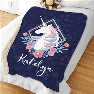 Personalized Unicorn Blanket | Unicorn Oversized Throw Blanket