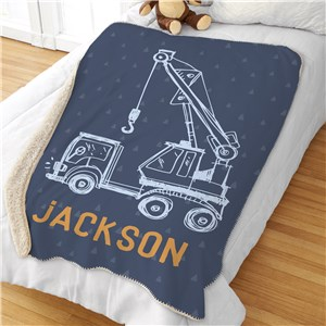 Personalized Kid's Blanket | Construction Truck Kids Decor