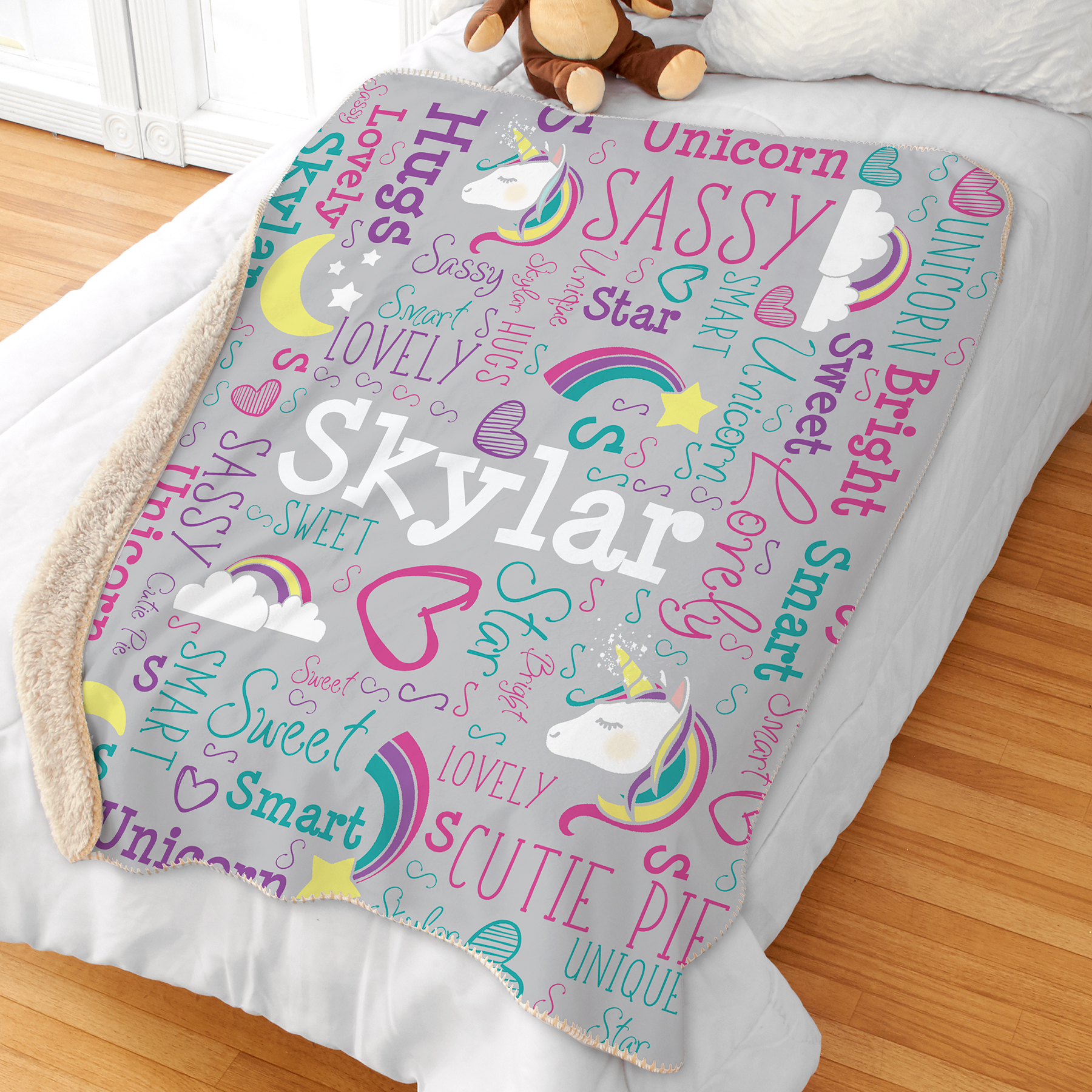 Personalized Sherpa Blanket | Unicorn Kids Room Decor