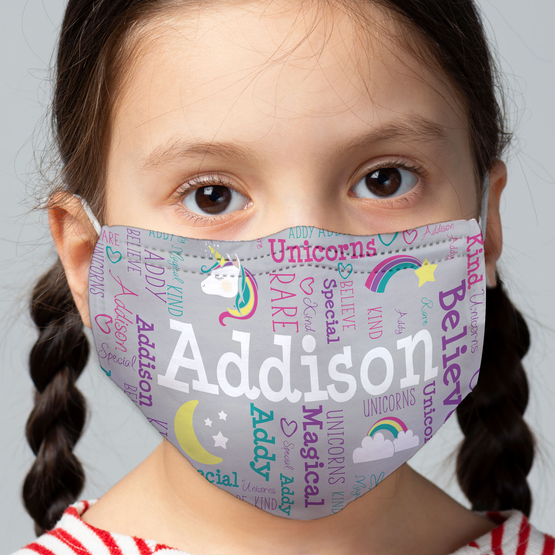Unicorn Word Art Child Face Mask