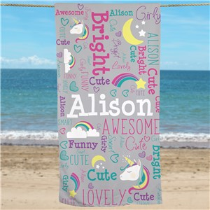 Unicorn Beach Towel | Personalized Kids Towels