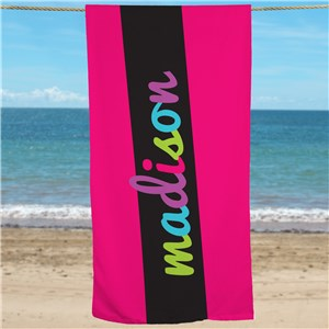 Girls Multi Color Personalized Name Beach Towel