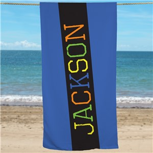 Personalized Boys Multi Color Name Beach Towel