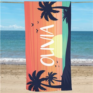 Personalized Sunset Beach Towel