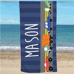 Boys Truck Beach Towel | Personalized Kids Towels