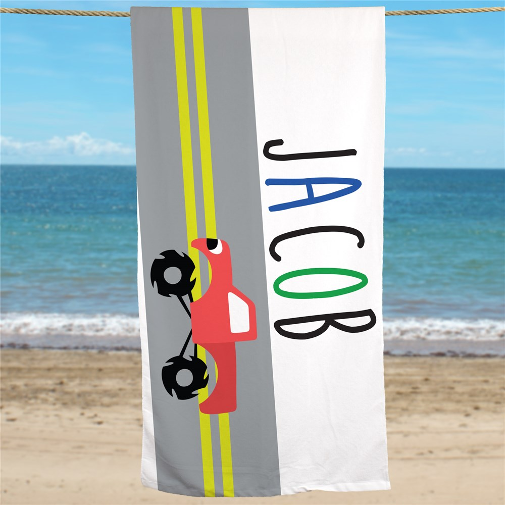 Personalized Kids Beach Towels | Kids Truck Personalized Towels