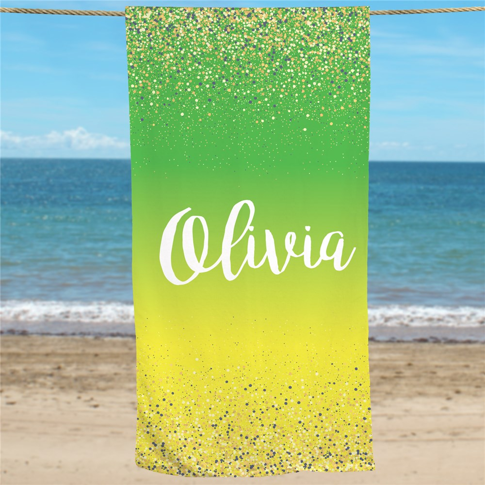 Personalized Gradient And Glitter Beach Towel U1458733