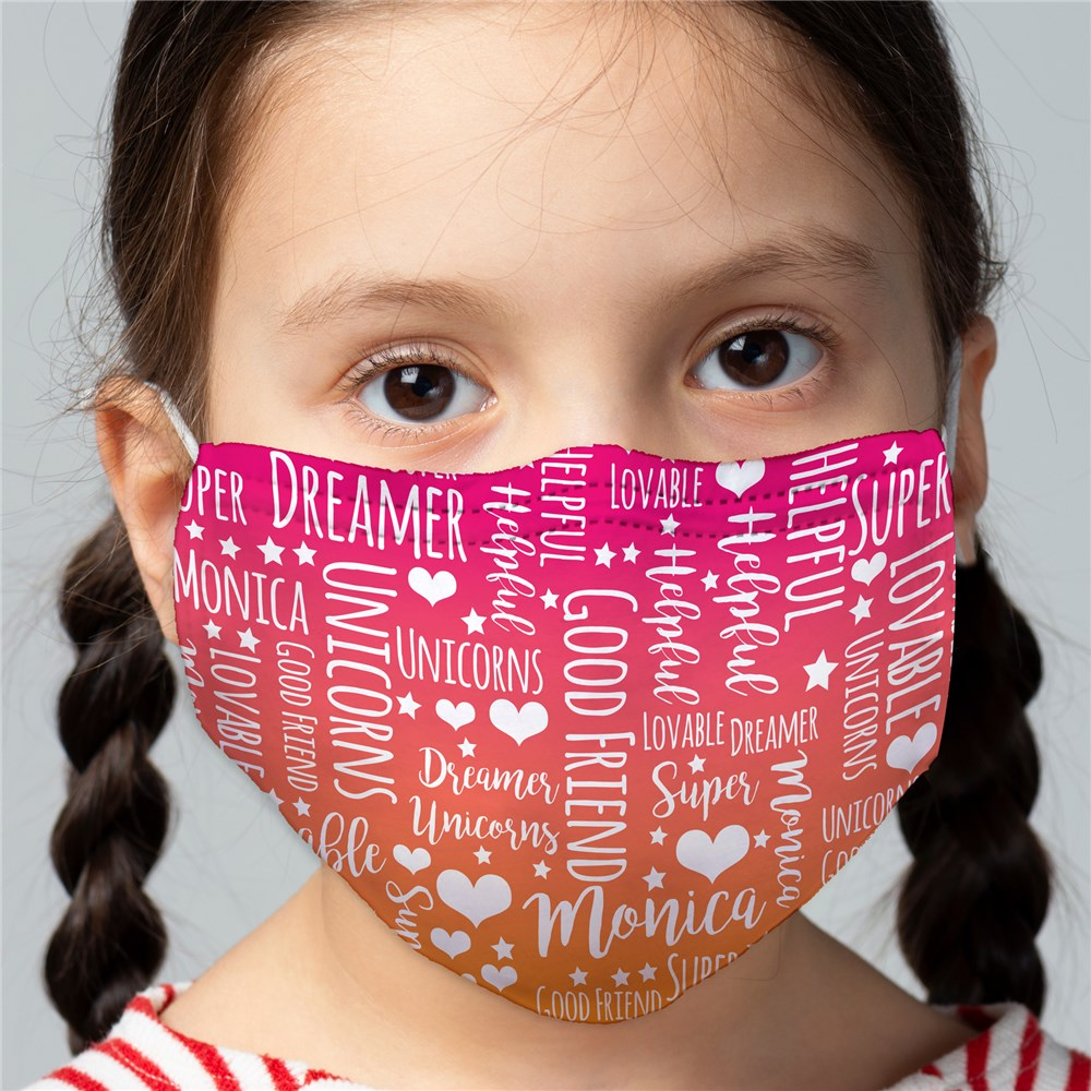 Fun Gradient Word Art Child Face Mask