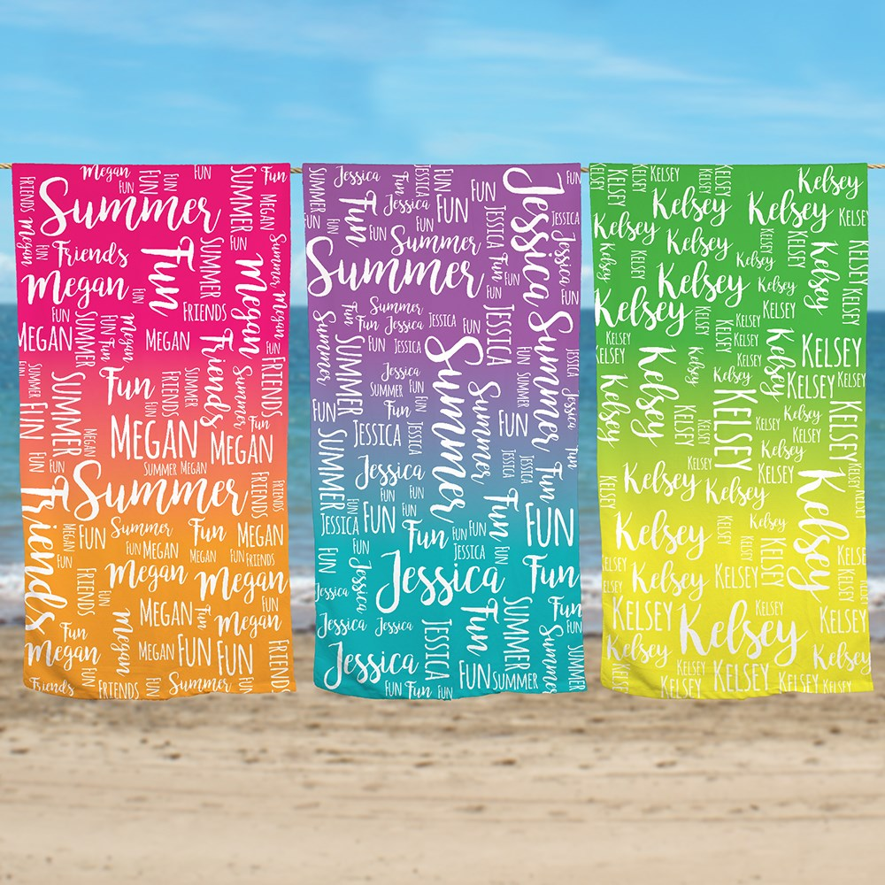 Summer Beach Towel | Colorful Beach Towel With Name