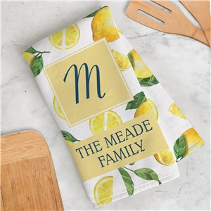 Personalized Dish Towel | Lemon Kitchen Accessories