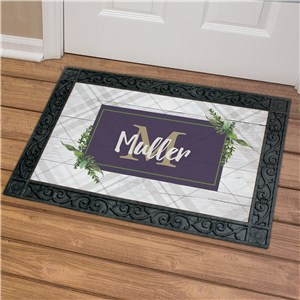 Personalized Doormat | Grey Plaid and Botanical Doormat