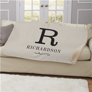 Personalized Sherpa Blanket | Customized Initial Blanket