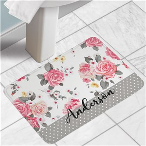 Personalized Bath Mat | Pink Floral Home Decor