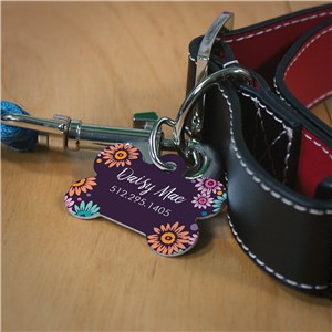 Personalized Dog Tags | Purple Flowers Pet Tag