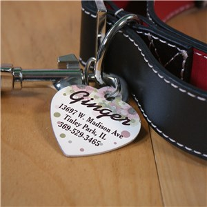Personalized Floral Pet Tag | Pink Pet Tags