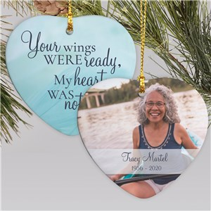 Personalized Memorial Ornaments | Heart Shaped Photo Memorial Ornament