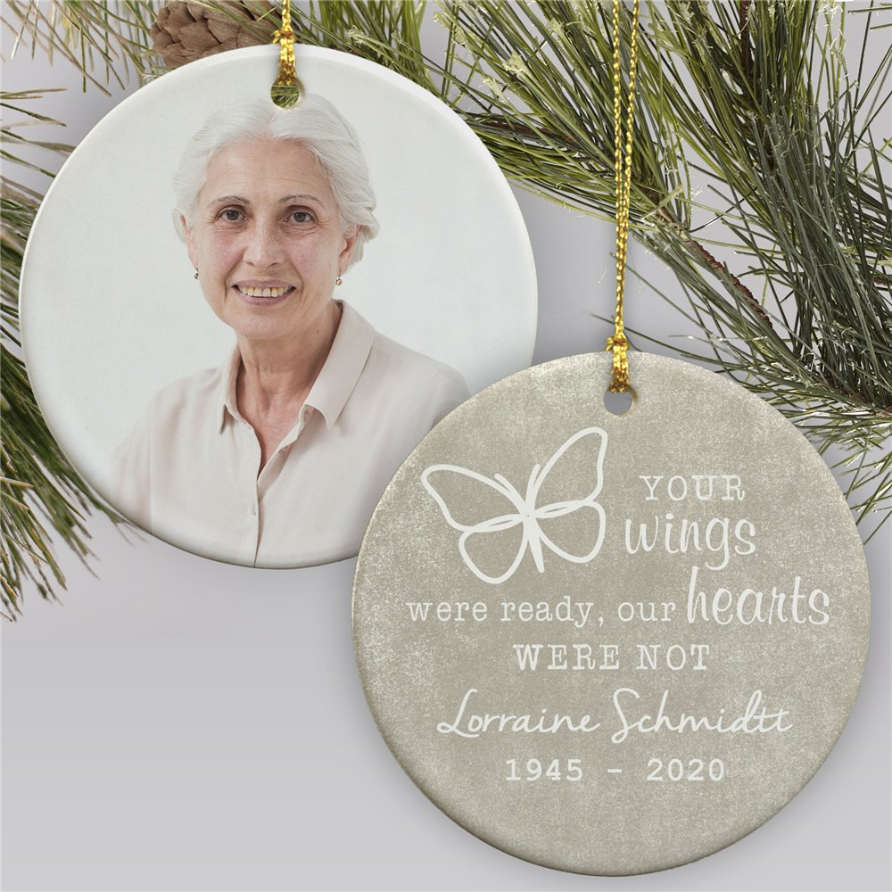 Memorial Christmas Ornaments | Photo Memorial Round Christmas Ornament