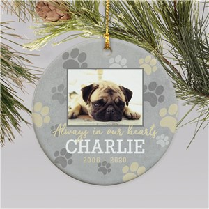Personalized Always In Our Hearts Paw Print Ornament U1537810