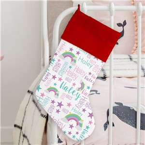 Word-Art Kid's Stocking | Rainbow Gifts For Kids