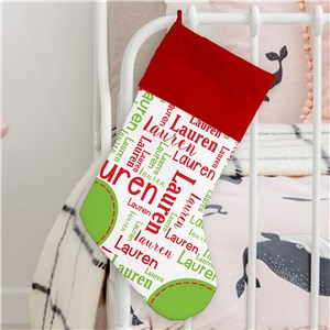 Word-Art Name Personalized Stocking | Word Cloud Name Stocking