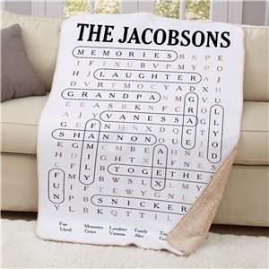 Personalized Family Name Word Search Sherpa Blanket U1552187