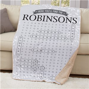 Personalized Word Search Blanket | Unique Word Search Gifts