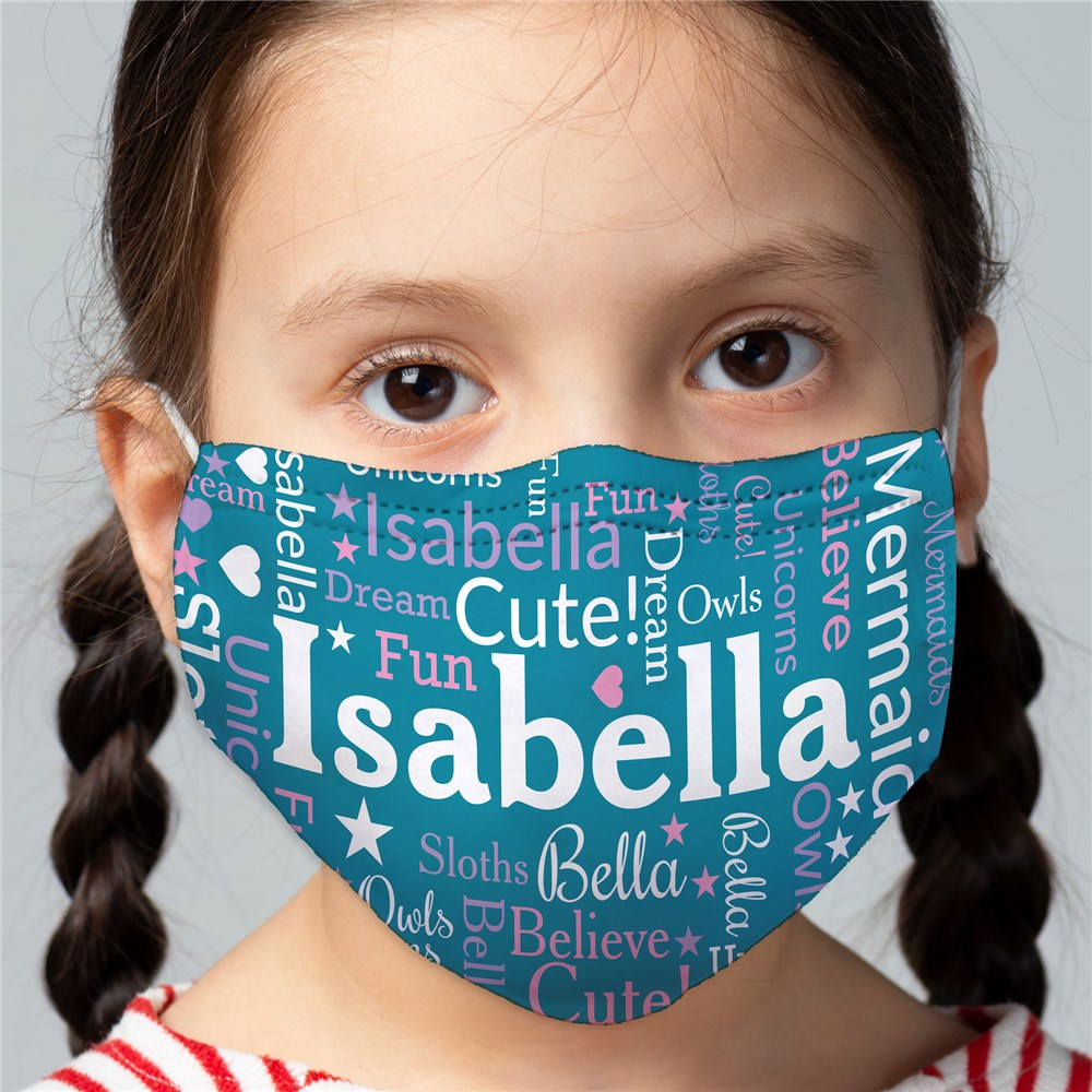 Personalized Name Word Art Child Face Mask