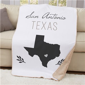 Personalized City And State Symbol 50x60 Sherpa Blanket