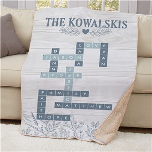 Personalized Blue Floral Cross Word 50x60 Sherpa Blanket U15750119